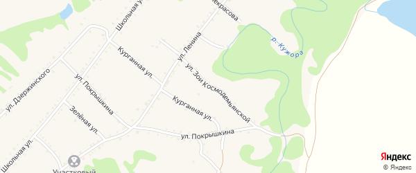 Улица З.Космодемьянской на карте Кужорской станицы Адыгеи с номерами домов
