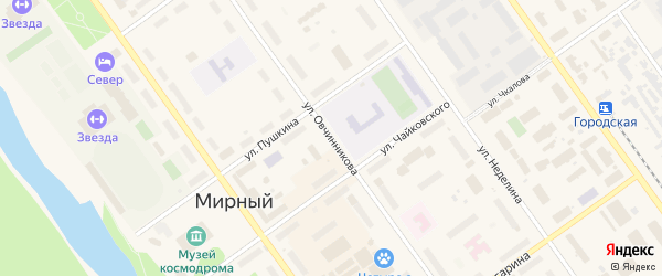 Улица Овчинникова на карте Мирного с номерами домов