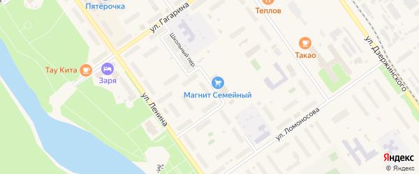 Школьный переулок на карте Мирного с номерами домов