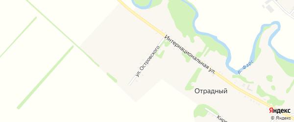 Улица Островского на карте Отрадного хутора с номерами домов