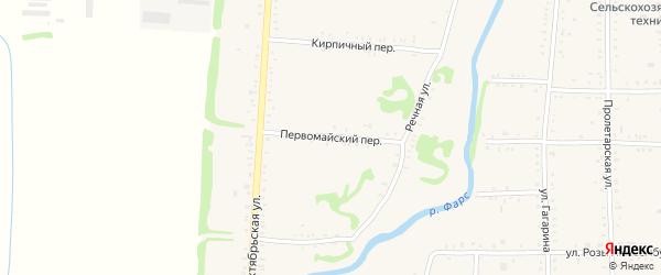 Первомайский переулок на карте Дондуковской станицы Адыгеи с номерами домов