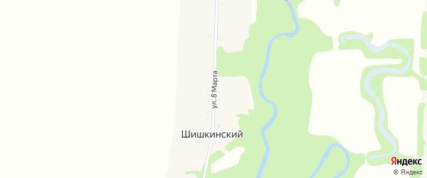 Улица 8 Марта на карте Шишкинского хутора Адыгеи с номерами домов