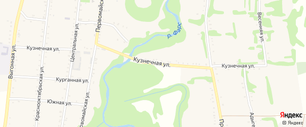 Кузнечная улица на карте Сергиевского села Адыгеи с номерами домов