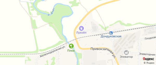 Железнодорожная улица на карте Дондуковской станицы Адыгеи с номерами домов