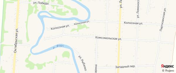 Комсомольская улица на карте Дондуковской станицы Адыгеи с номерами домов