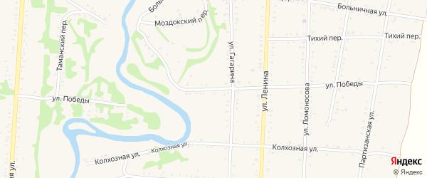 Улица Победы на карте Дондуковской станицы Адыгеи с номерами домов