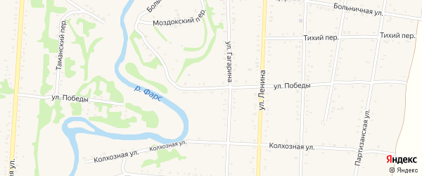 Улица Победы на карте Дондуковской станицы с номерами домов