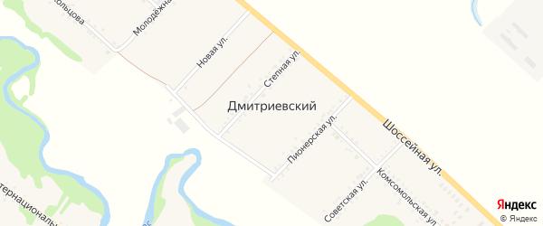 Улица Здание коровника на карте Дмитриевского хутора Адыгеи с номерами домов