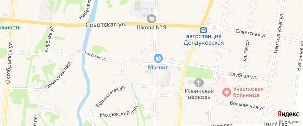 Клубная улица на карте Дондуковской станицы с номерами домов