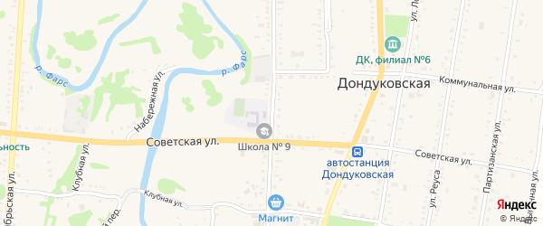 Улица Гагарина на карте Дондуковской станицы Адыгеи с номерами домов