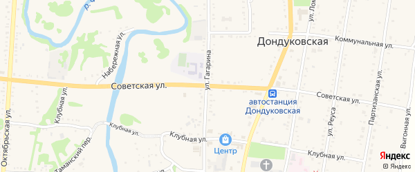 Советская улица на карте Дондуковской станицы Адыгеи с номерами домов