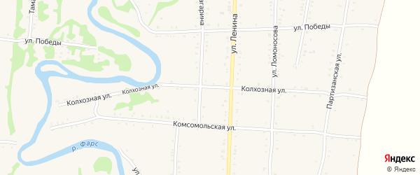 Колхозная улица на карте Дондуковской станицы Адыгеи с номерами домов