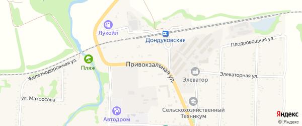 Привокзальная улица на карте Дондуковской станицы Адыгеи с номерами домов