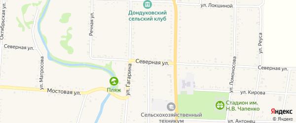 Северная улица на карте Дондуковской станицы Адыгеи с номерами домов