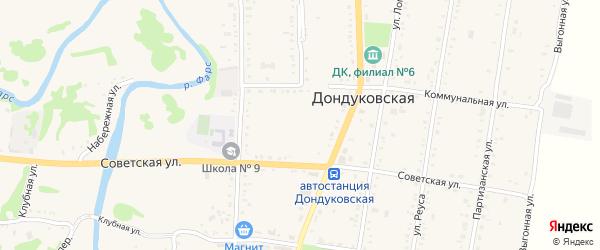 Улица Тамарчина на карте Дондуковской станицы Адыгеи с номерами домов