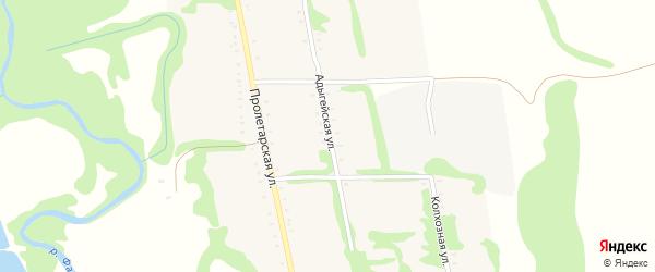 Адыгейская улица на карте Сергиевского села Адыгеи с номерами домов