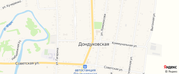 Школьная улица на карте Дондуковской станицы Адыгеи с номерами домов