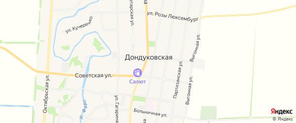Карта Дондуковской станицы в Адыгее с улицами и номерами домов