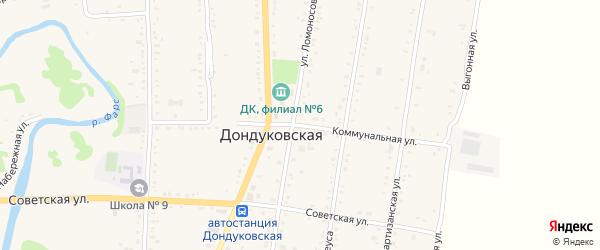 Коммунальная улица на карте Дондуковской станицы Адыгеи с номерами домов