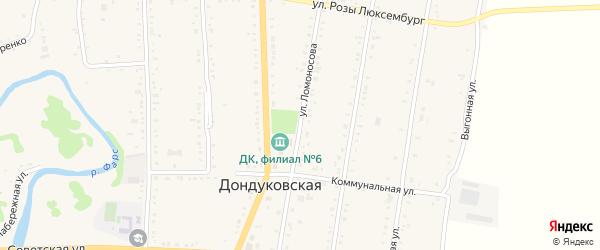 Улица Ломоносова на карте Дондуковской станицы Адыгеи с номерами домов