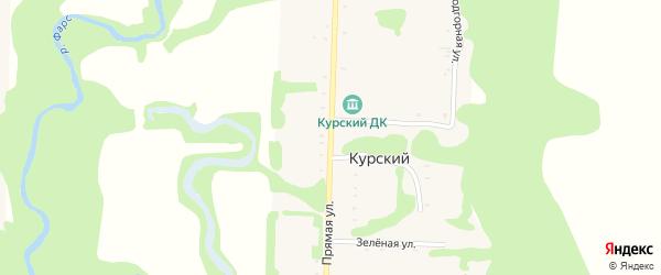 Прямая улица на карте Курского хутора Адыгеи с номерами домов