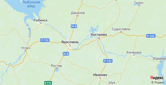 Карта Некрасовского района Ярославская области с городами и населенными пунктами