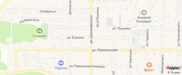 Улица Есенина на карте Спасска-Рязанского с номерами домов