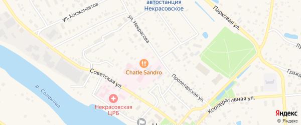 Южная улица на карте поселка Некрасовского Ярославская области с номерами домов