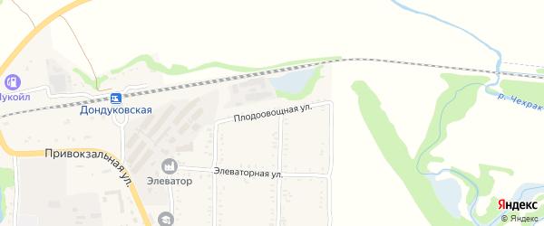Плодоовощная улица на карте Дондуковской станицы Адыгеи с номерами домов