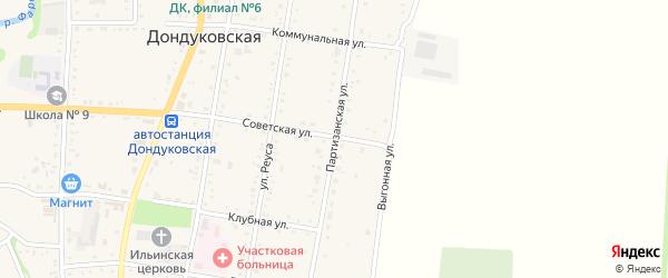 Партизанская улица на карте Дондуковской станицы Адыгеи с номерами домов