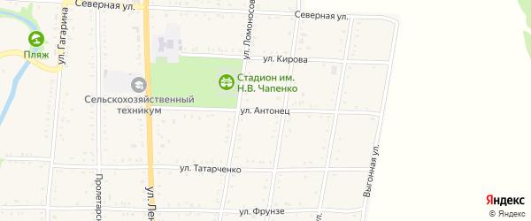 Улица Ф.Антонец на карте Дондуковской станицы Адыгеи с номерами домов