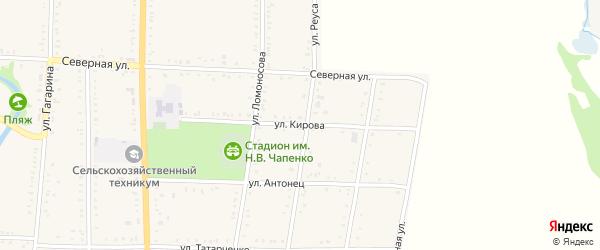 Улица Кирова на карте Дондуковской станицы Адыгеи с номерами домов