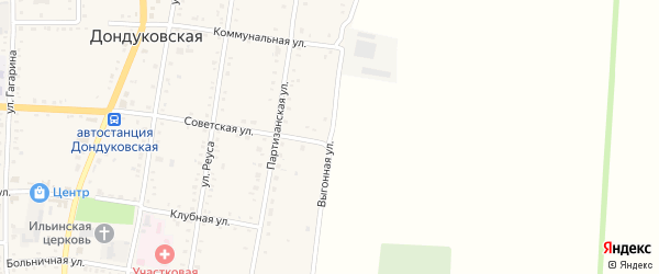 Выгонная улица на карте Дондуковской станицы Адыгеи с номерами домов