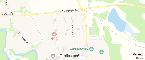 Красная улица на карте Тамбовского хутора Адыгеи с номерами домов