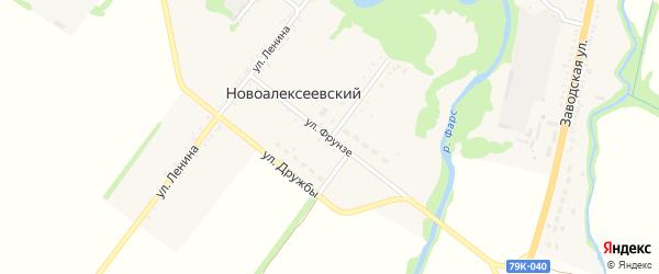 Улица Фрунзе на карте Новоалексеевского хутора Адыгеи с номерами домов