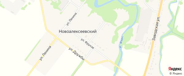 Широкая улица на карте Новоалексеевского хутора Адыгеи с номерами домов