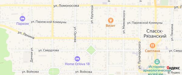 Улица Крупской на карте Спасска-Рязанского с номерами домов
