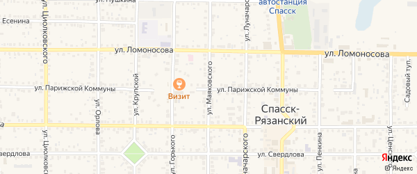 Улица Маяковского на карте Спасска-Рязанского с номерами домов