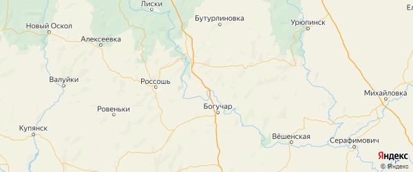 Карта Верхнемамонского района Воронежской области с городами и населенными пунктами