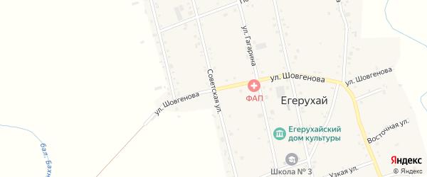 Советская улица на карте аула Егерухай Адыгеи с номерами домов