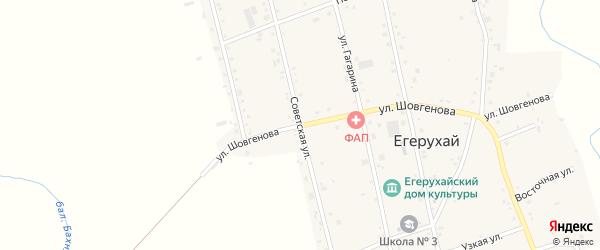 Советская улица на карте аула Егерухай с номерами домов