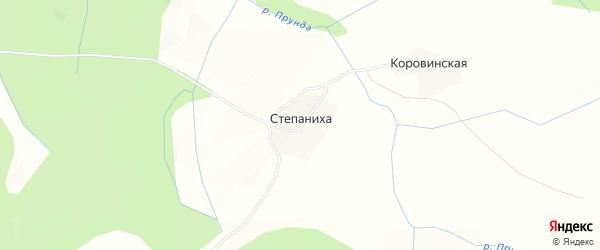 Карта деревни Степаниха в Вологодской области с улицами и номерами домов