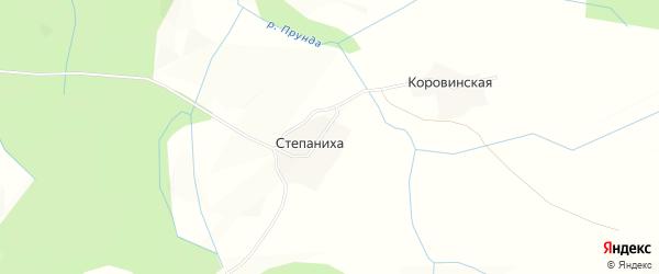 Карта деревни Степанихи сельсовета Вожегодского в Вологодской области с улицами и номерами домов