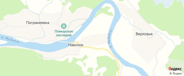 Карта деревни Наволока в Архангельской области с улицами и номерами домов