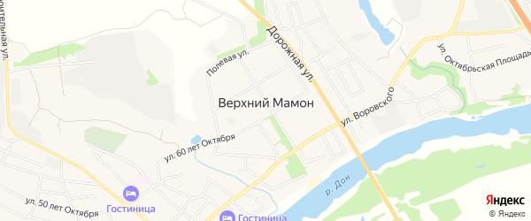 Карта села Верхнего Мамона в Воронежской области с улицами и номерами домов