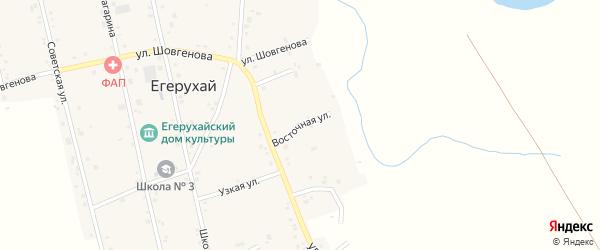 Восточная улица на карте аула Егерухай Адыгеи с номерами домов