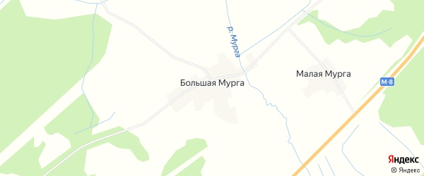 Карта деревни Большей Мурги в Вологодской области с улицами и номерами домов