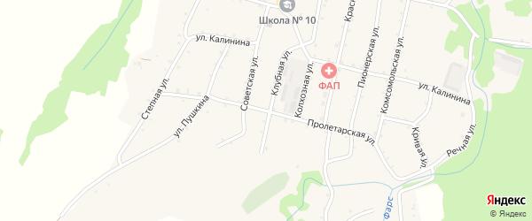 Пролетарская улица на карте Новосвободной станицы Адыгеи с номерами домов
