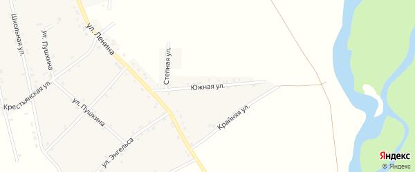 Южная улица на карте аула Егерухай Адыгеи с номерами домов