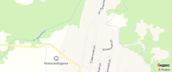 Улица Пушкина на карте Новосвободной станицы Адыгеи с номерами домов
